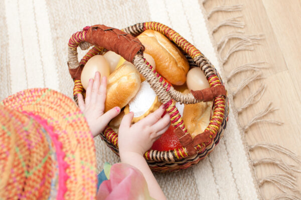 basket of food bread picnic role play domestic themed