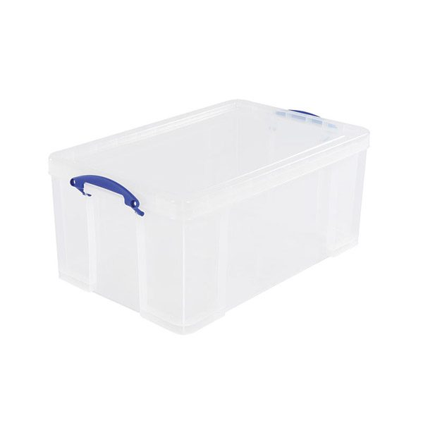 Large Transparent Storage Box 64L with Lid and Handles
