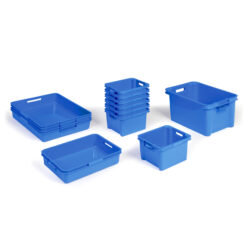 water storage pack for school home nurseries plastic trays in blue