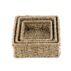 Set of 3 Square Baskets Seagrass Woven Eco-Friendly Natural