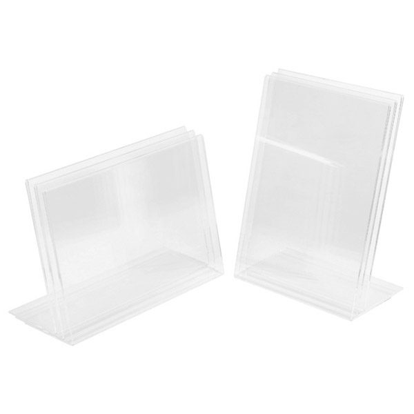 Set of A4 Display Stands transparent A4 display stands ideal for showcasing books, postcards or artworks. Set of 6– 3 x A4 Landscape and 3 x Square A4 Portrait Stands. Clear perspex acrylic display stands.