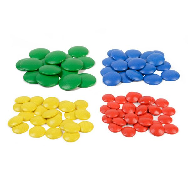 Set of Wooden Coloured Sorting Discs
