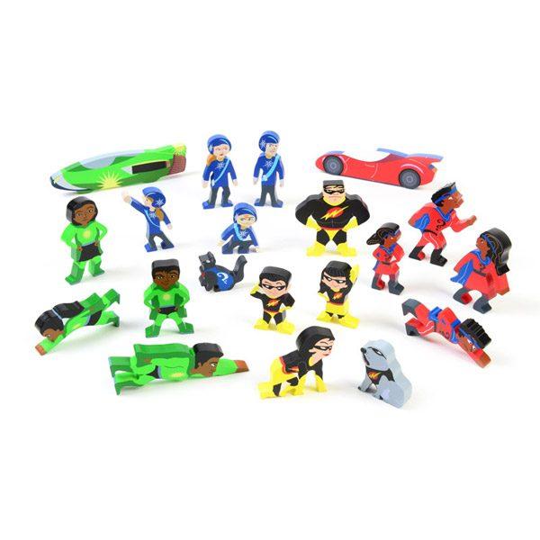 Set of Wooden Superhero Characters