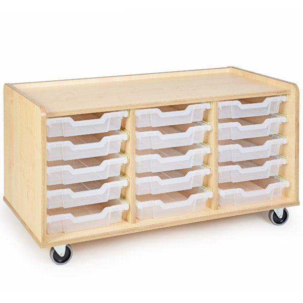 Mobile Tray Storage Unit Shallow Trays