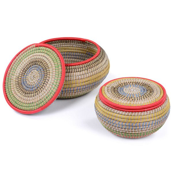 Large Colourful Baskets Set of 2 Colourful Stacking Baskets