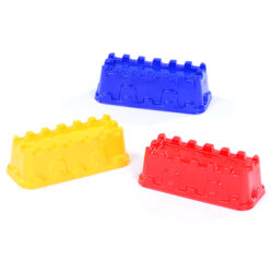 Castle Wall Sand Mould in yellow blue and red for sandcastle building in wet sand play