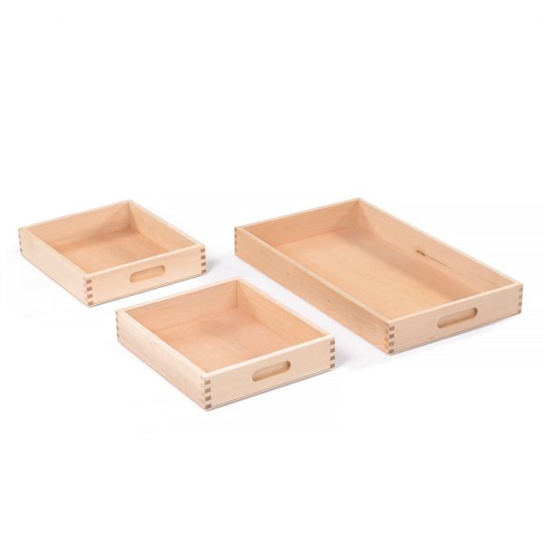 Set of Dry Sand Trays with wood box joint corners