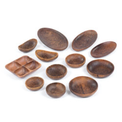 Set of 12 Mixed Wooden Bowls