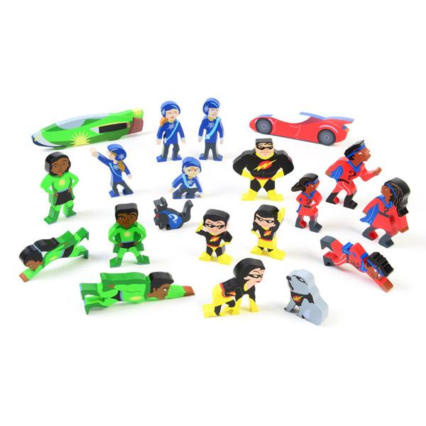 Set of Wooden Superhero Characters 1