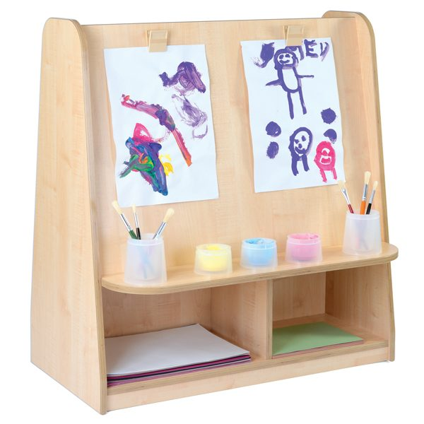 complete art area for painting and drawing easels and resource equipment