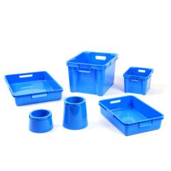 Blue Plastic Boxes, Trays & Pots
