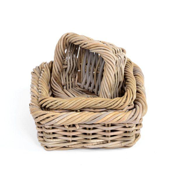 Set of 3 Square Rattan Baskets