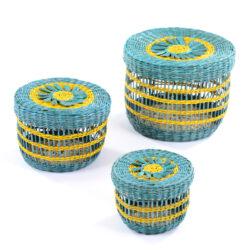 Set of 3 Round Turquoise Baskets