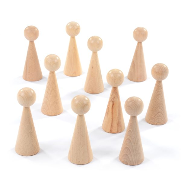Set of 10 Extra Large Figures wooden characters skittles people toys games play learn figurines to paint