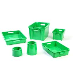 Green Plastic Boxes, Trays & Pots