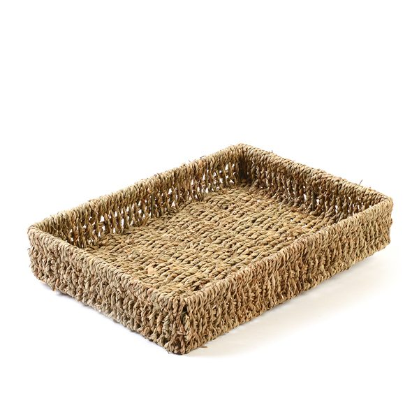 A4 Rectangular Seagrass Tray Basket for Paper Desk Tidy Organiser