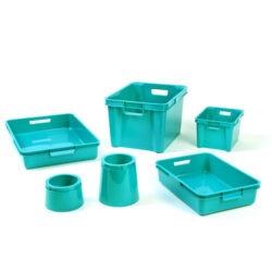 Turquoise Plastic Boxes, Trays & Pots