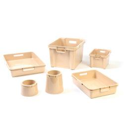 Natural Plastic Boxes, Trays & Pots