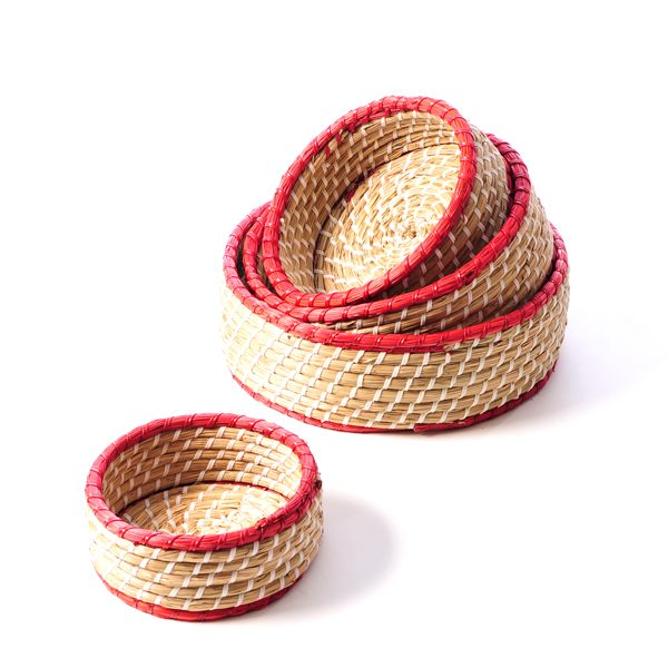 set of natural baskets woven weave wicker storage containers natural materials