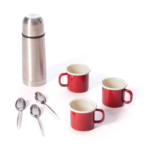 Flask and Enamel Cup Set