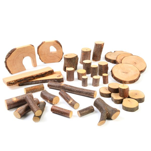 Large Tree Blocks Set (36pcs) natural wood