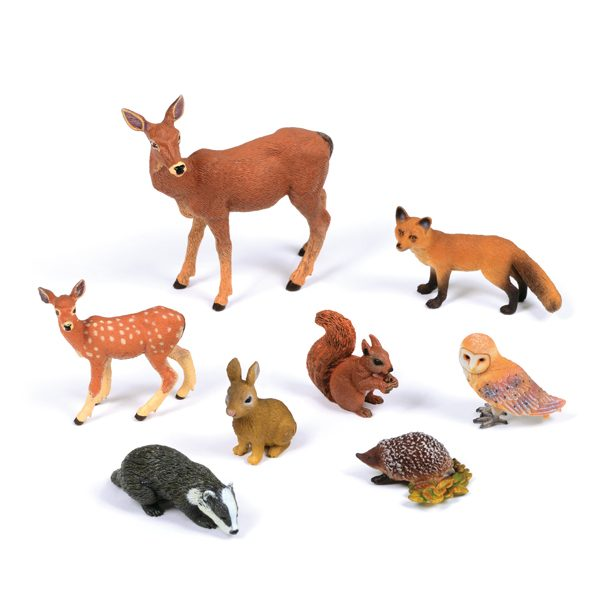 Set of Forest Animals red deer fawn fox squirrel badger barn owl rabbit hedgehog