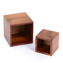 Dark Wooden Boxes set of two acacia wood storage and organiser pot holder