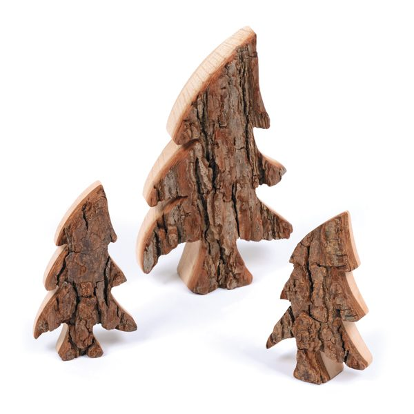 Set of Natural Wooden Trees