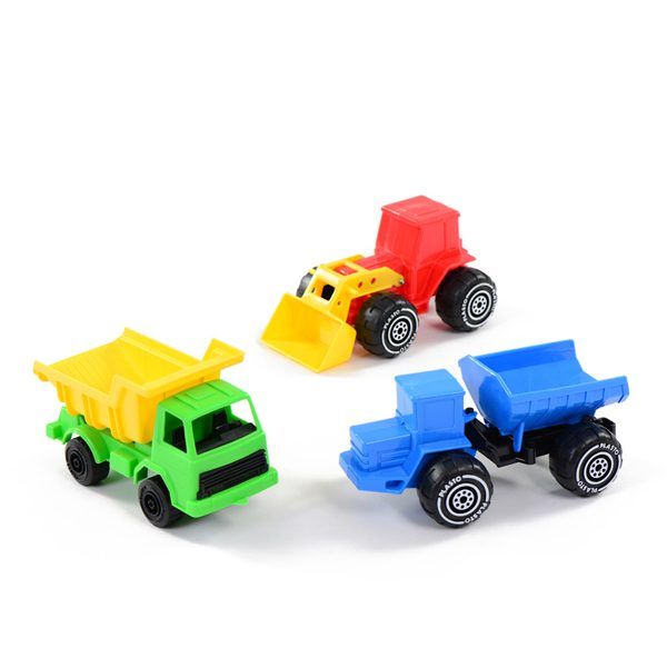 set of vehicles dumper truck tractor with frontloader tipper truck building site