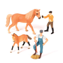 Set of Horses with Stablehands