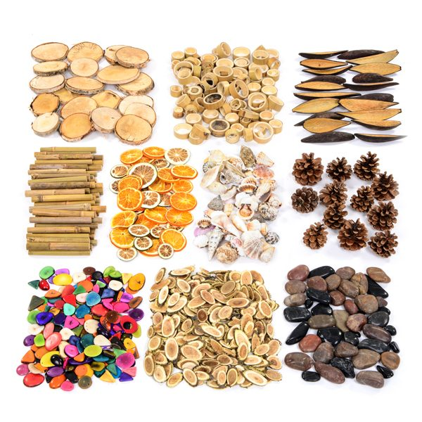 transient art resource collection with natural organic materials for classroom learning