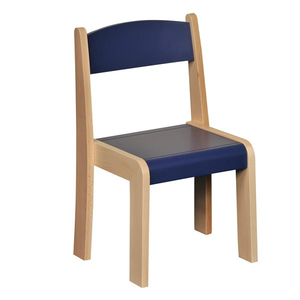 Blue Stackable Chair Wooden Classroom Seating