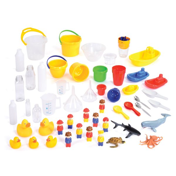 water resource collection 2-3yrs for problem solving indoors in classroom with cylinders measures boats animals people