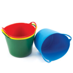Set of multicoloured trugs for storage gardening tubtrugs