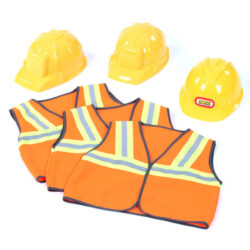 Set of 3 Construction Waistcoats & Helmets