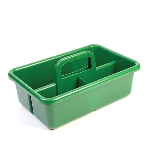 Large green carryall storage caddy and organiser with carry handle for gardening