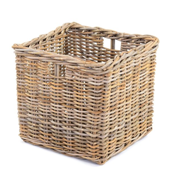 large rattan basket with handles natural materials