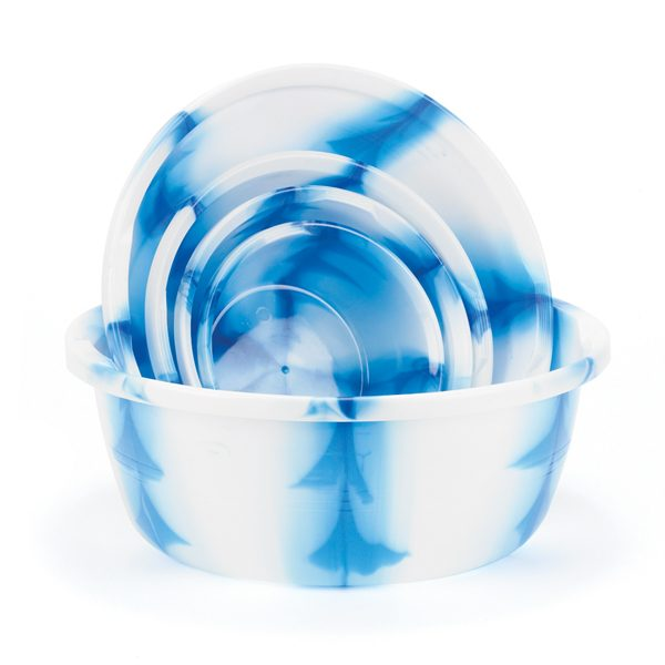 Set of Blue Marble Bowls