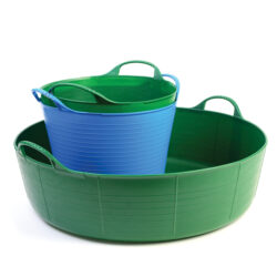 Large and Small trugs and tubs set for gardening and outdoor storage in green and blue