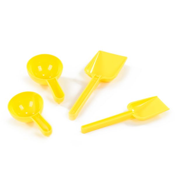 Set of Yellow Tools scoops and spades plastic sand toys for outdoor sand pit and tray