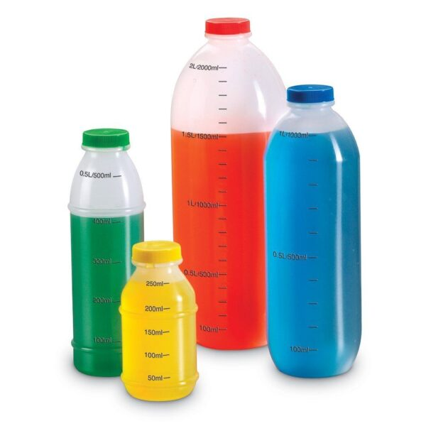 measure set bottles measuring tubs containers coloured