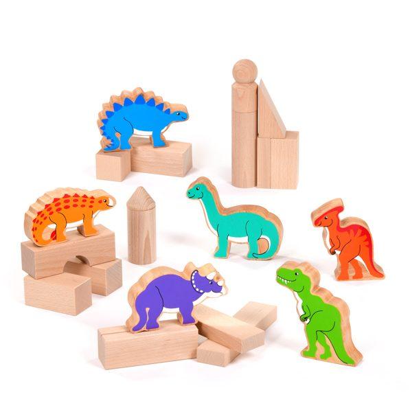 Wooden Dinosaurs Building Blocks Set Small World Play