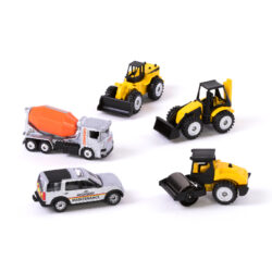 set of construction vehicles