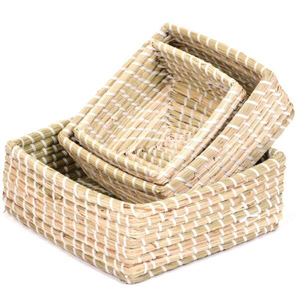Set of Square Natural Baskets