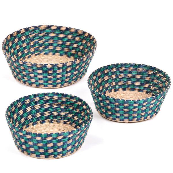 Set of Blue Patterned Baskets