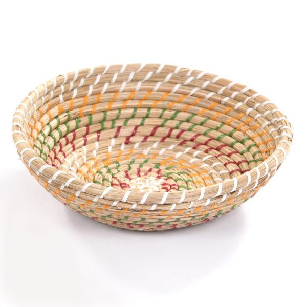 Round Multi Stripe Basket Large Moroccan storage woven natural storage