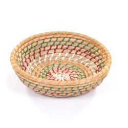 Round Multi Stripe Basket Small raffia woven handmade bowl storage dish fruit bowl
