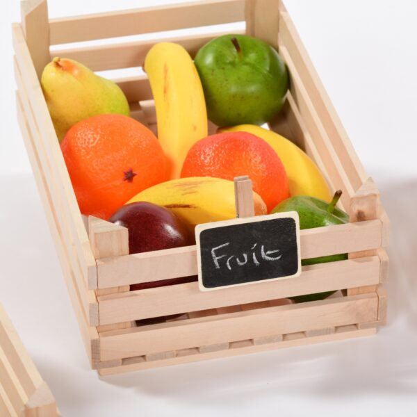 Set of Wooden Crates with Food